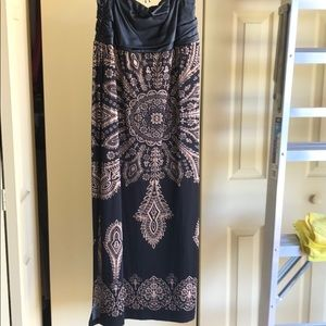 Print maxi skirt with pleather details